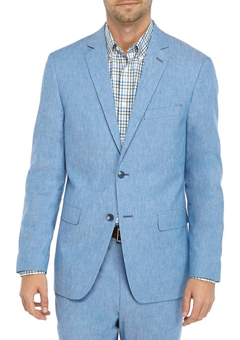 Crown & Ivy™ Mens Blue Linen Solid Jacket