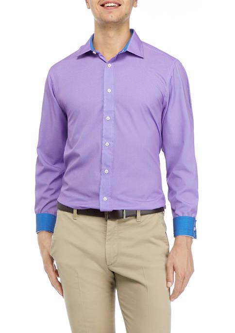 Mens Micro Dot Print Dress Shirt