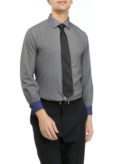 Mens Micro Check Print Dress Shirt