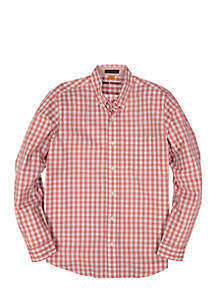 Long Sleeve Gingham Performance Top