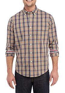 Long Sleeve Plaid Stretch Woven Performance Shirt