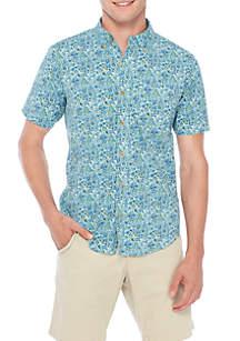 Short Sleeve Ditsy Floral Stretch Poplin Shirt
