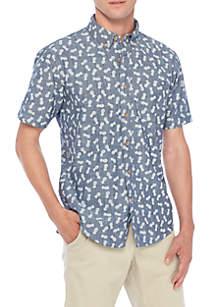 Short Sleeve Pineapple Print Chambray Shirt