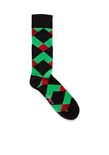 Christmas Geo Print Crew Socks
