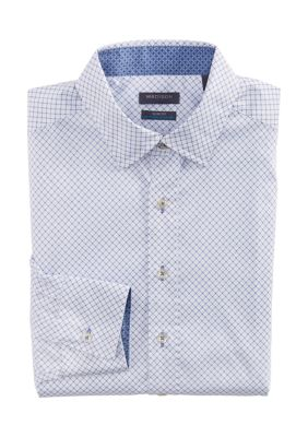 Madison Mens Slim Untucked Diamond Print Button Down Collar Dress Shirt