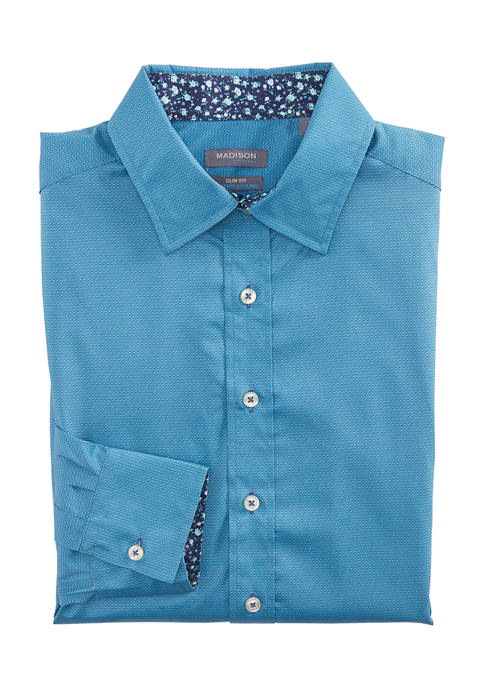 Madison Mens Slim Untucked Geometic Print Button Down