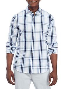 Motion Stretch Plaid Poplin Woven Shirt