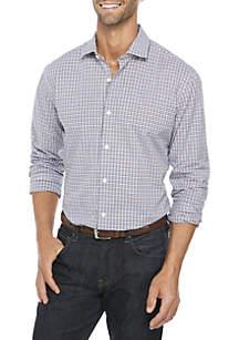 Madison Motion Stretch Plaid Poplin Woven Shirt