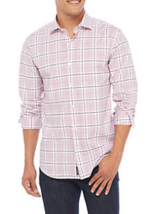 Madison Motion Stretch Plaid Poplin Woven Shirt