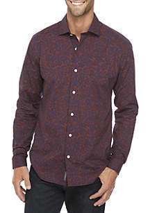 Madison Motion  Stretch Printed Poplin Woven Shirt