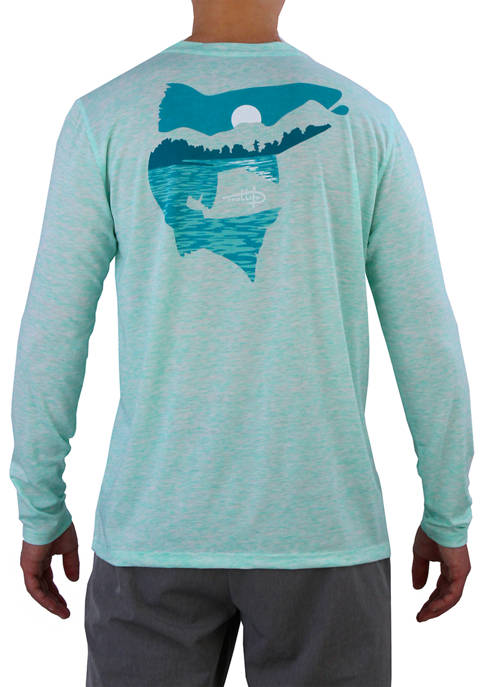 Mens Long Sleeve Fish Into The Sunset Coastal Perf Graphic T-Shirt