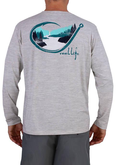 Long Sleeve Hooked on Waterfalls Coastal Performance Graphic T-Shirt