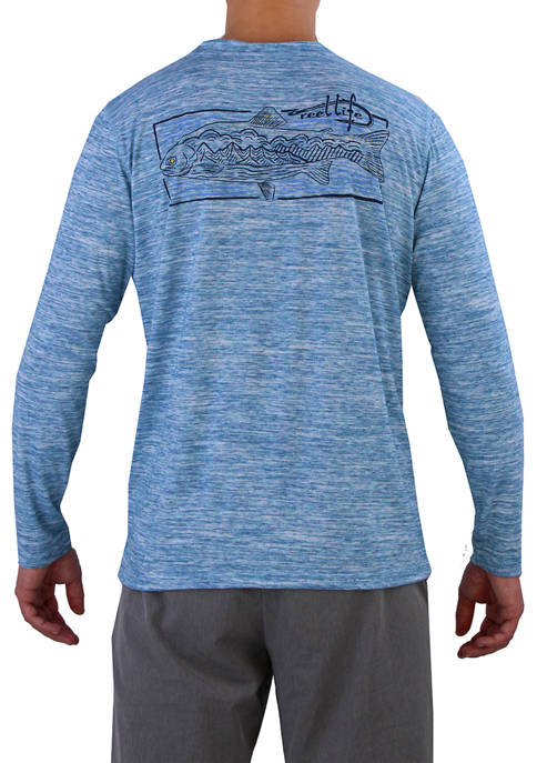 Reel Life Mens Long Sleeve Trouterspace Coastal Graphic