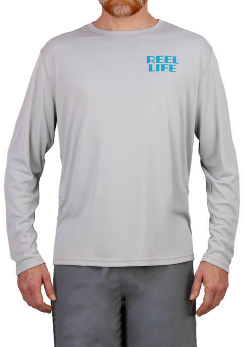 Mens Long Sleeve Straight Up Palms Performance T-Shirt