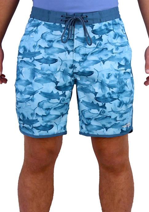 Reel Life Many Fish Watercolor Shorts