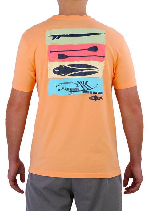 Reel Life Mens Short Sleeve Beach Bum Graphic