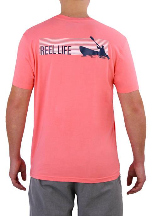 Reel Life Mens Short Sleeve Kayak Stripes Graphic