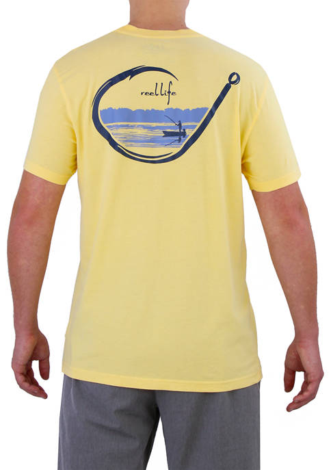 Mens Short Sleeve Peacefully Hooked Graphic T-Shirt