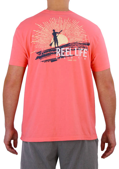 Mens Short Sleeve Sunburst Paddle Boarding Graphic T-Shirt