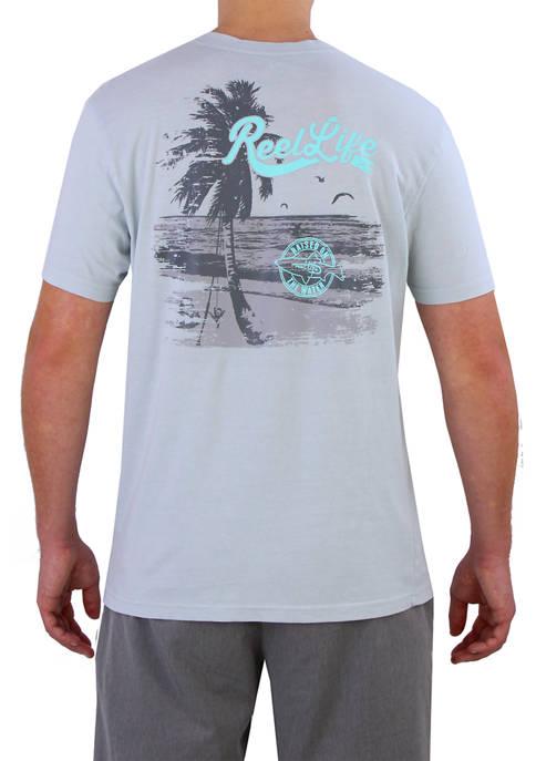 Reel Life Mens Short Sleeve Beach Graphic T-Shirt