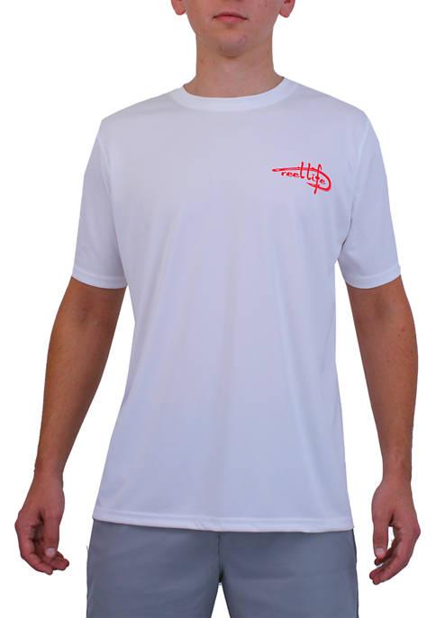 Mens Reel Life Sun Defender Fish Hook Graphic T-Shirt