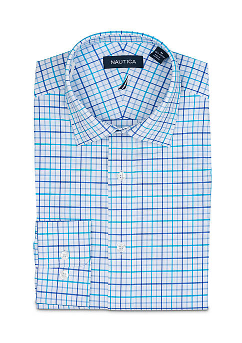 Nautica Seaweed Large Tattersall Dress Shirt