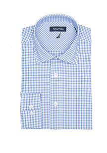 Performance Stretch Blue Multi Check Dress Shirt
