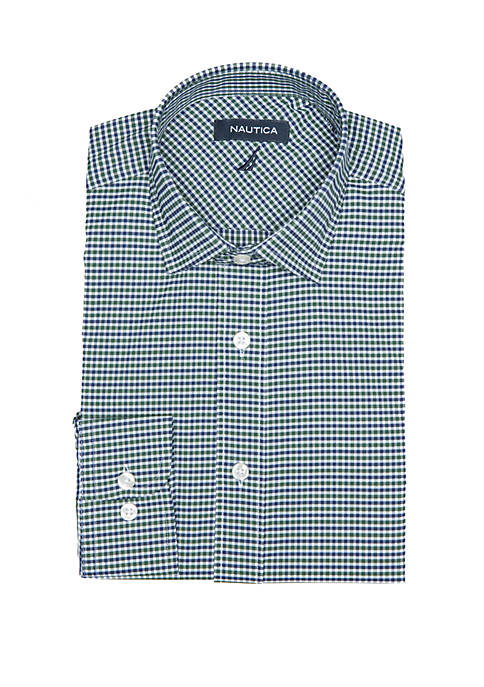 Nautica Performance Stretch Spruce Green Navy Mini Gingham