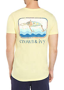 Crown & Ivy™ Fish Lure Yellow Graphic T Shirt