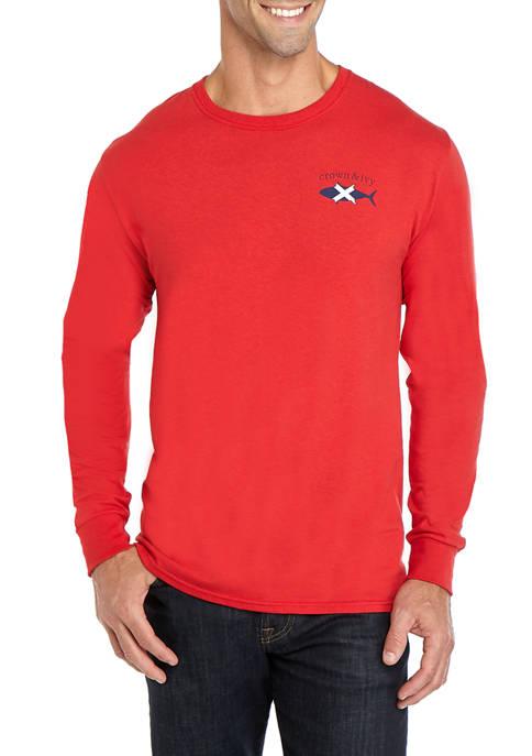 Mens Long Sleeve Nautical Fish T-Shirt