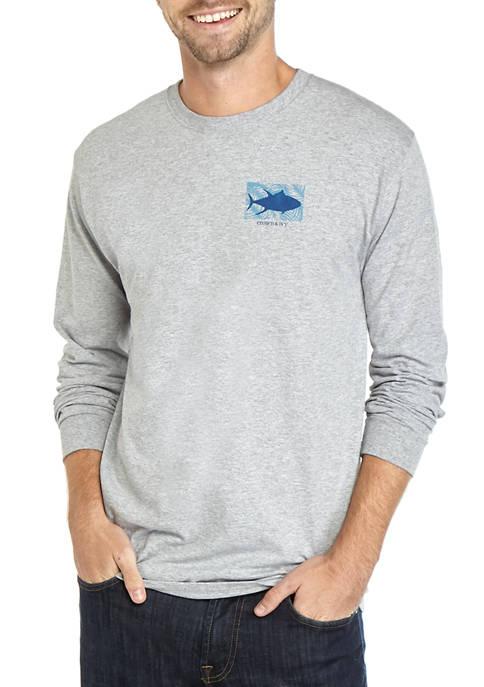 Mens Long Sleeve Tuna Palm T-Shirt