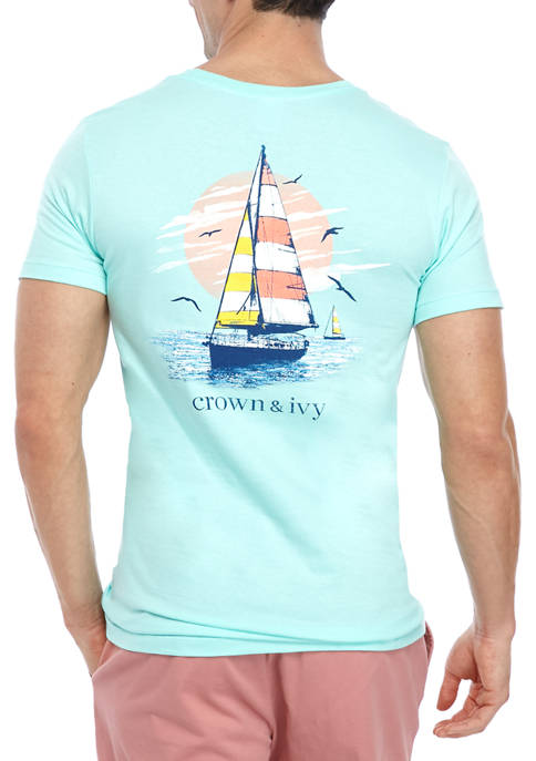 Crown & Ivy™ Mens Short Sleeve Sailboat Graphic