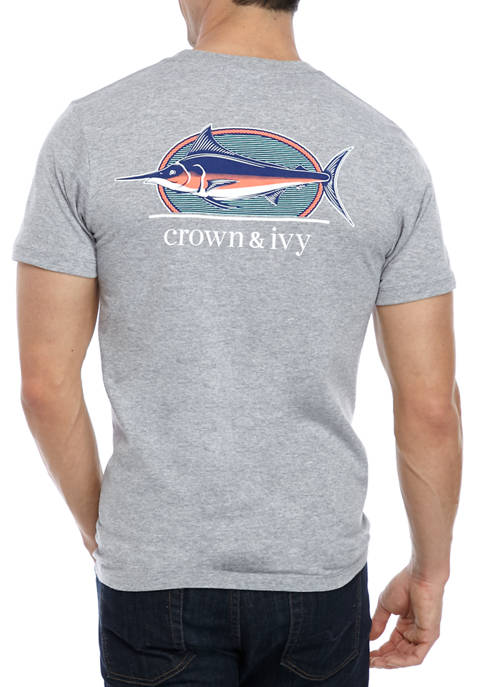 Mens Short Sleeve Marlin Graphic T-Shirt