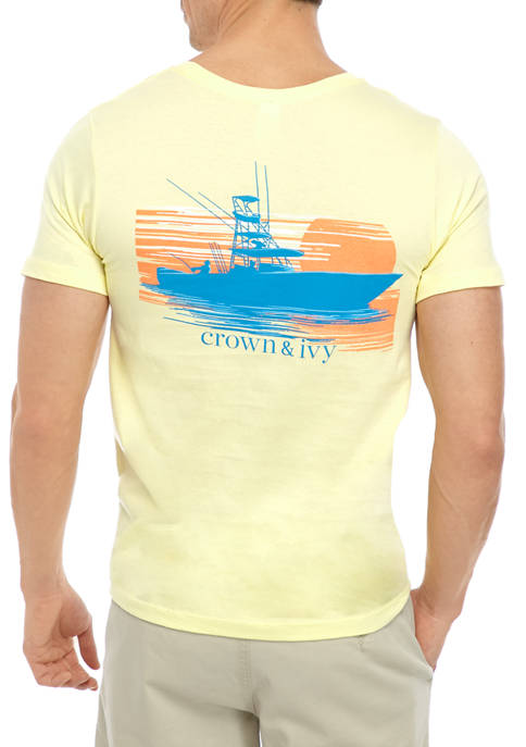 Crown & Ivy™ Mens Short Sleeve Charter Boat