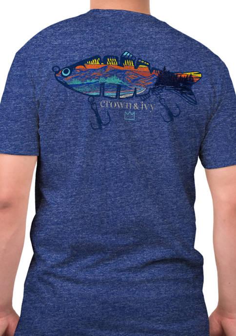 Short Sleeve Mountain Fishing Lure Graphic T-Shirt