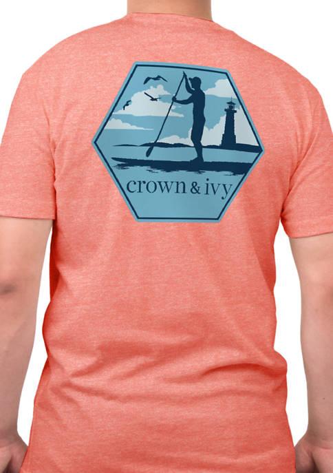 Short Sleeve Paddleboard Scene Graphic T-Shirt