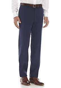 Blue Flat Front Stretch Pants