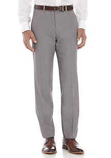 Gray Flat Front Stretch Pants