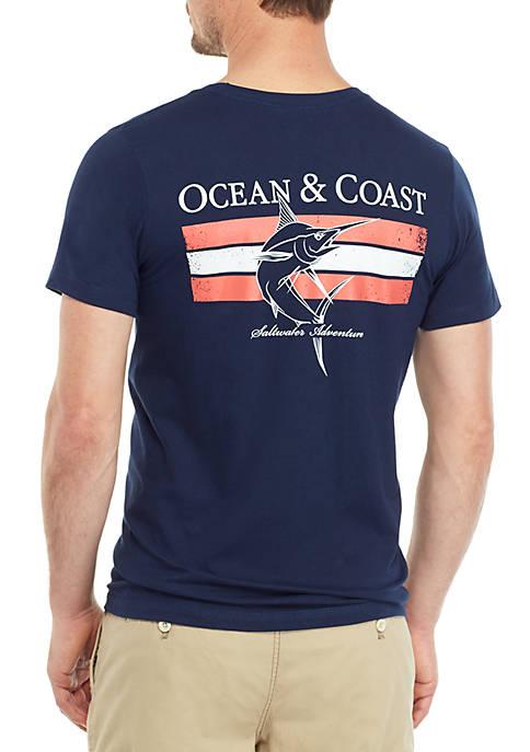 Ocean & Coast® Navy Fish Graphic T Shirt