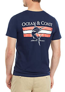 Ocean & Coast® Navy Fish Graphic T Shirt