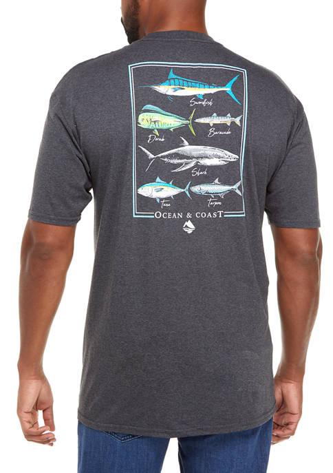 Big & Tall Short Sleeve Fish Graphic T-Shirt