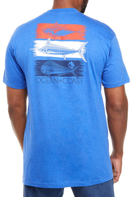 Big & Tall Short Sleeve Red White and Blue Graphic T-Shirt