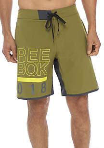 Graphic Olive Swim Board Shorts
