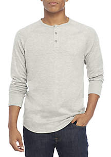 Long Sleeve Double Knit Henley Shirt