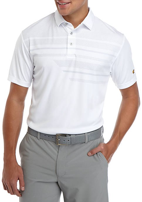 JACK NICKLAUS Mens Short Sleeve Asymmetrical Bird Polo