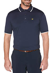 JACK NICKLAUS Solid Short Sleeve Golf Polo Shirt with Rib and Cuff Tipping
