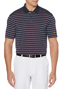 JACK NICKLAUS Three Color Stripe Short Sleeve Golf Polo Shirt