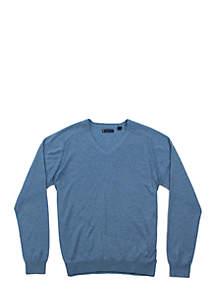 Long Raglan Sleeve Fleetwood V-Neck Sweater