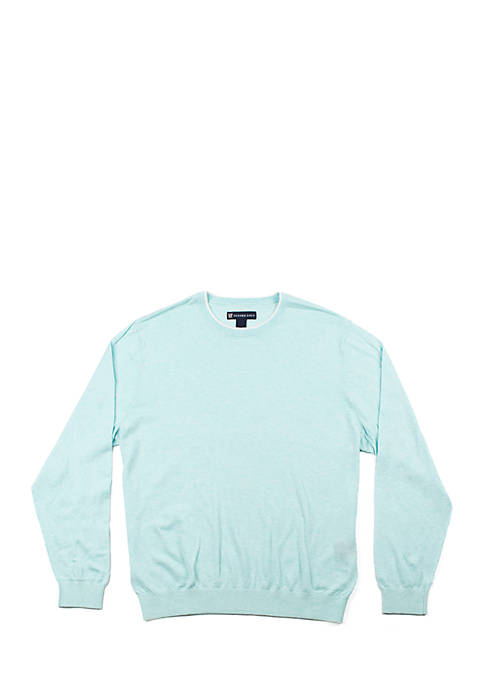 Oxford Long Sleeve Fowler Crew Neck Tipping Sweater