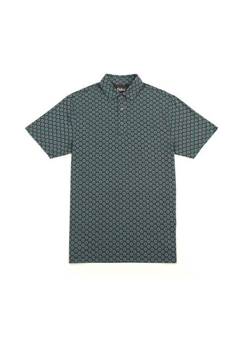 Oxford Harmon Medallion Print Performance Polo Shirt